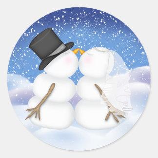 Kissing Snowmen Bride and Groom Sticker