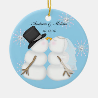 Kissing Snowmen Married Our First Chrismas Snowfla Ceramic Ornament