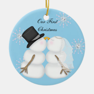 Kissing Snowmen Married Our First Chrismas Snowfla Ceramic Ornament