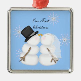 Kissing Snowmen Married Our First Chrismas Snowfla Metal Ornament