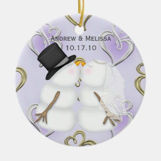 Kissing Snowmen Married Our First Christmas Round Ceramic Ornament