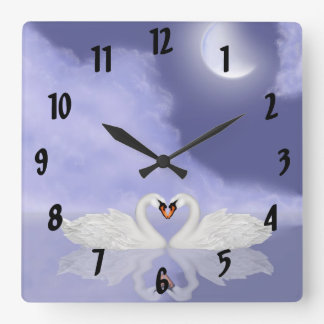 Kissing Swans Square Wall Clock