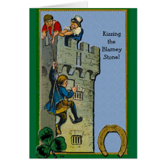 Kissing the Blarney Stone greeting card