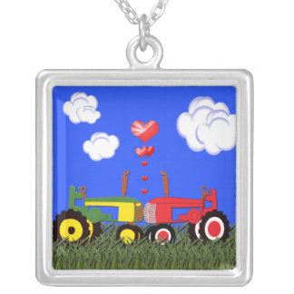 Kissing Tractors and Hearts Necklace