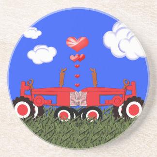 Kissing Tractors Hearts Coaster