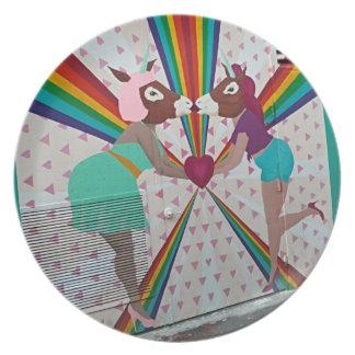 Kissing Unicorn Plate