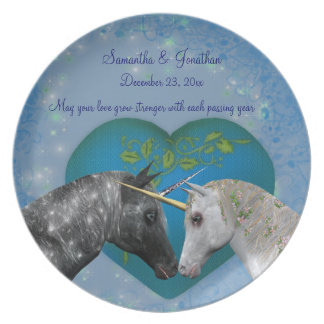 Kissing Unicorns Wedding Keepsake Plate