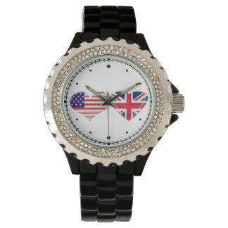 Kissing USA and UK Hearts Flag Watch