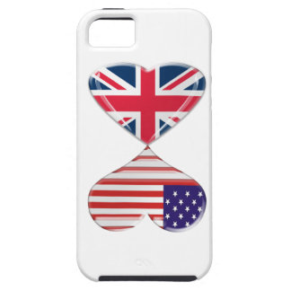 Kissing USA and UK Hearts Flags Art Case For The iPhone 5