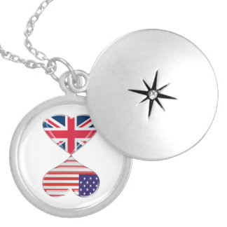 Kissing USA and UK Hearts Flags Art Locket Necklace