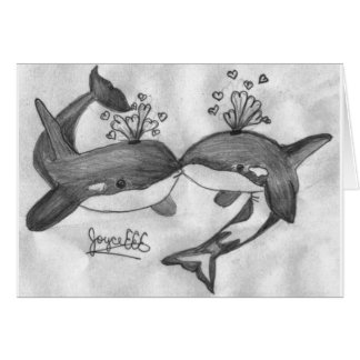 kissing whales card