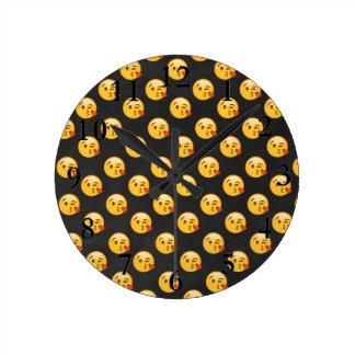 Kissy Face Emojis Round Clock