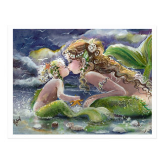 Kissy mermaid & child Postcard
