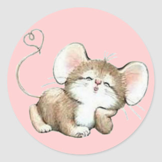 Kissy Mouse Classic Round Sticker