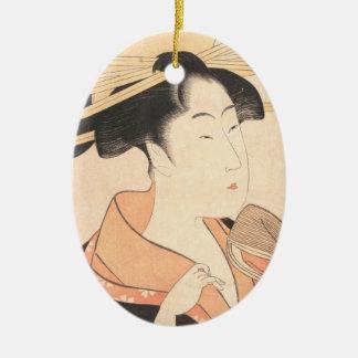Kitagawa Utamaro Azumaya no Hana japanese lady art Ceramic Oval Ornament