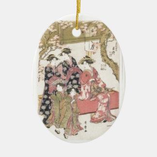 Kitagawa Utamaro cherry blossoms pink spring petal Ceramic Oval Ornament