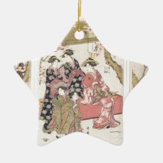 Kitagawa Utamaro cherry blossoms pink spring petal Ceramic Star Ornament