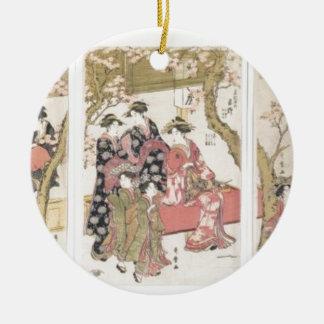 Kitagawa Utamaro cherry blossoms pink spring petal Round Ceramic Ornament