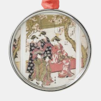 Kitagawa Utamaro cherry blossoms pink spring petal Silver-Colored Round Ornament