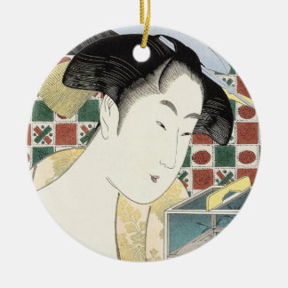 Kitagawa Utamaro Insect Cage japanese beauty lady Round Ceramic Ornament