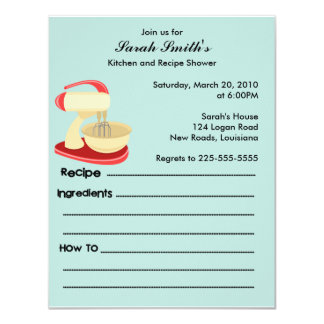 Kitchen and Recipe Shower Card