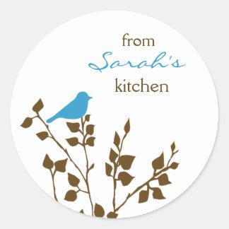 Kitchen Baking Canning Cute Aqua Brown Bird Round Sticker