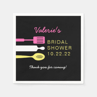 Kitchen bridal shower decor, chalkboard pink paper napkin
