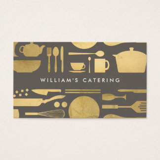 Kitchen Collage in Faux Gold Foil on Taupe Business Card