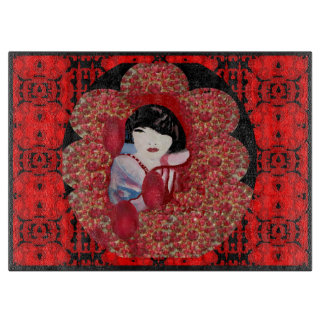 Kitchen Cutting Board-Oriental Charm on Red/Black Boards