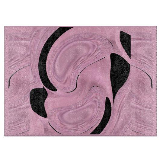 Kitchen Cutting Board - Pink Satin & Black Pattern