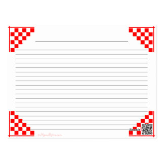 Kitchen Equivalents Red Checked Ruled Recipe Card