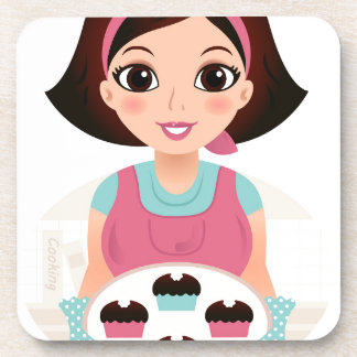 Kitchen girl with Cookies Coaster