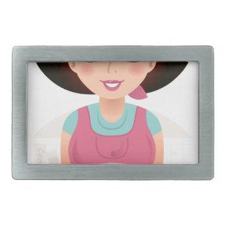 Kitchen girl with Cookies Rectangular Belt Buckle