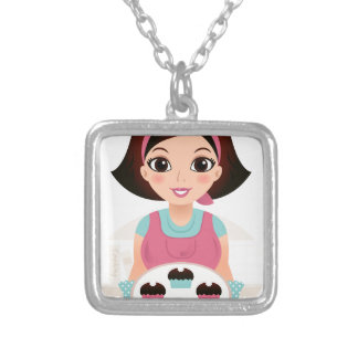 Kitchen girl with Cookies Silver Plated Necklace