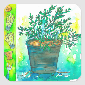 Kitchen Herb Rosemary Square Sticker