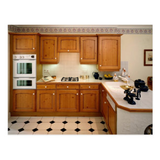 Kitchen interior with breakfast bar and oven postcard