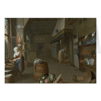 Kitchen interior with two maids preparing food card