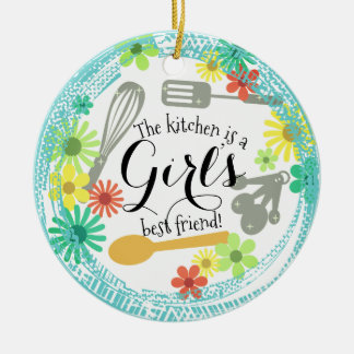 Kitchen is girl's best friend Christmas ornament
