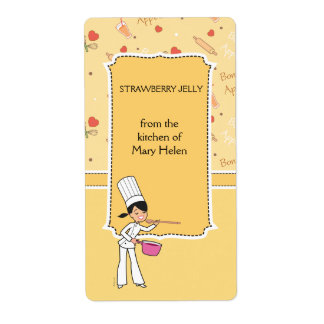 Kitchen Jar Label  with Chef Motif Shipping Label