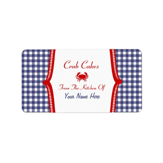 "Kitchen Label - Blue Gingham And Red ""Crab Cakes"""