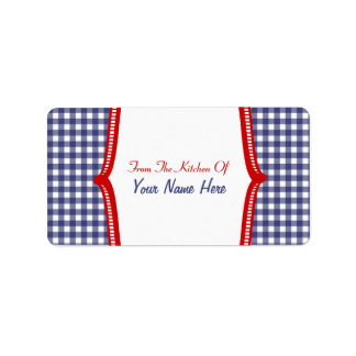 """Kitchen Label- """"From The Kitchen Of"""" Blue Gingham"""