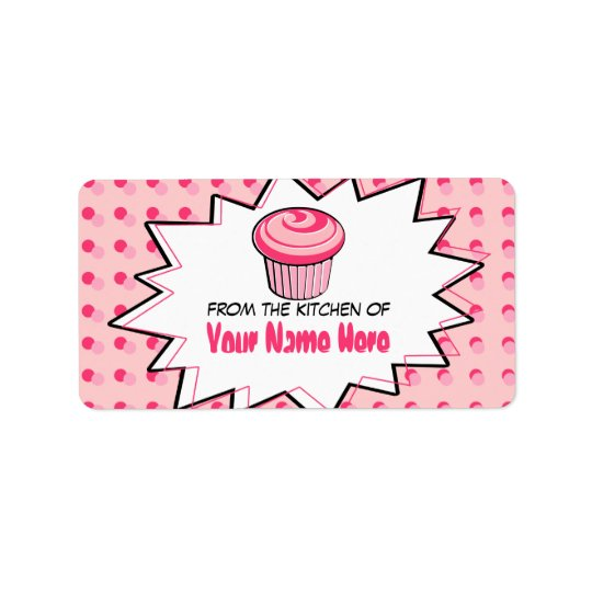 Kitchen Labels - Pop Art - Pink Cupcake
