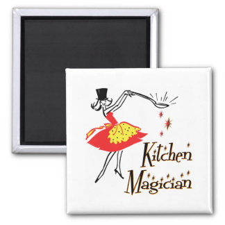 Kitchen Magician Retro Cooking Art Magnet Magnets