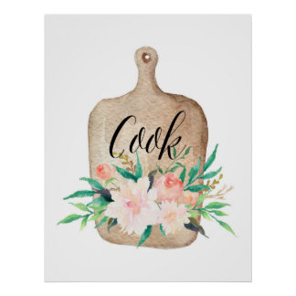 Kitchen print - Cook - Watercolor floral