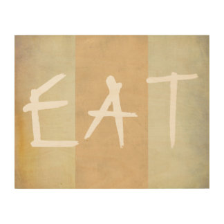kitchen quote wood wall art eat on sepia tones
