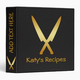 Kitchen Recipe Family Cookbook Crossed Gold Knife Binder