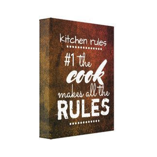 kitchen rules  canvas wall art humor quote