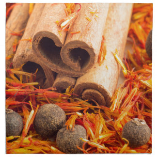 Kitchen spices and herbs close-up printed napkin