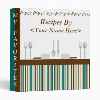 Kitchen Stripes Aqua Recipe Binder