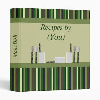 Kitchen Stripes Personalized Green Camo Recipe Vinyl Binder